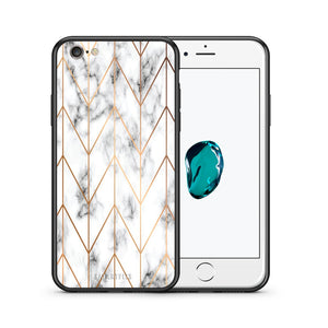Θήκη iPhone 7/8/SE 2020 Gold Geometric Marble από τη Smartfits με σχέδιο στο πίσω μέρος και μαύρο περίβλημα | iPhone 7/8/SE 2020 Gold Geometric Marble case with colorful back and black bezels