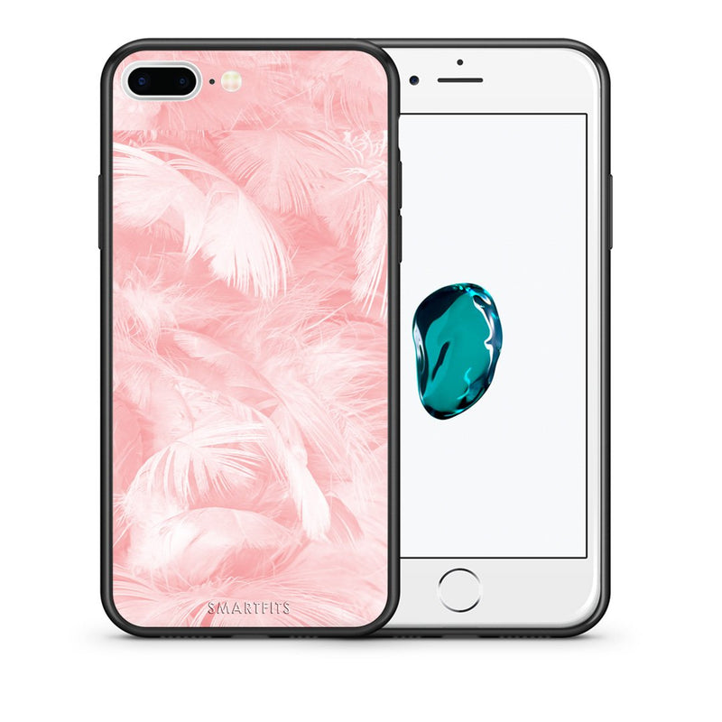 Θήκη iPhone 7 Plus/8 Plus Pink Feather Boho από τη Smartfits με σχέδιο στο πίσω μέρος και μαύρο περίβλημα | iPhone 7 Plus/8 Plus Pink Feather Boho case with colorful back and black bezels