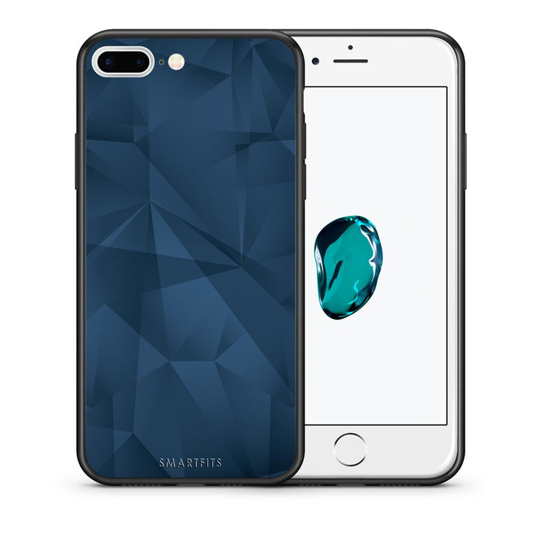 Θήκη iPhone 7 Plus/8 Plus Blue Abstract Geometric από τη Smartfits με σχέδιο στο πίσω μέρος και μαύρο περίβλημα | iPhone 7 Plus/8 Plus Blue Abstract Geometric case with colorful back and black bezels