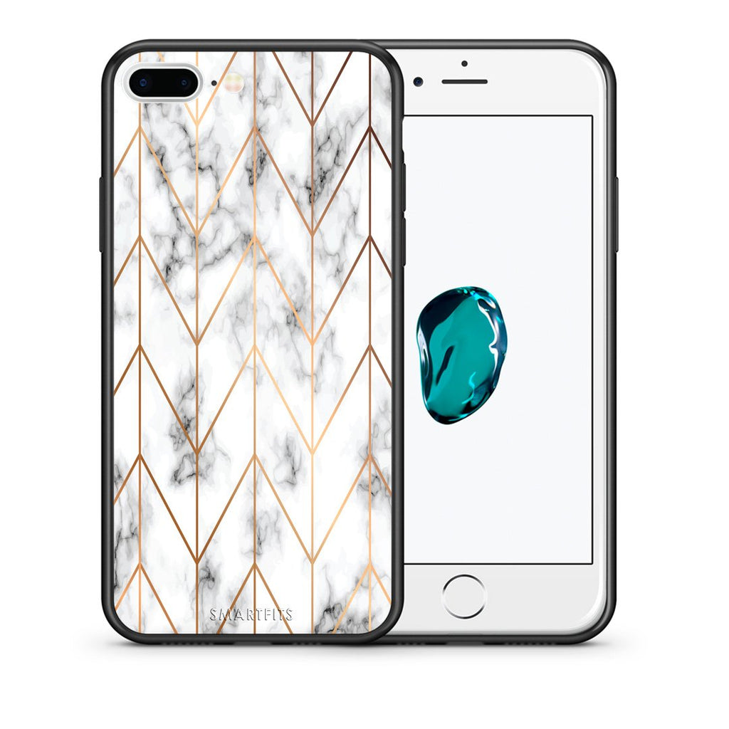 44 - iPhone 7 Plus/8 Plus Gold Geometric Marble case, cover, bumper