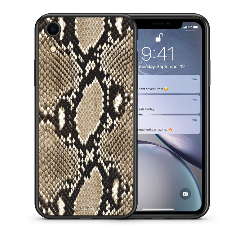 Θήκη iPhone XR Fashion Snake Animal από τη Smartfits με σχέδιο στο πίσω μέρος και μαύρο περίβλημα | iPhone XR Fashion Snake Animal case with colorful back and black bezels