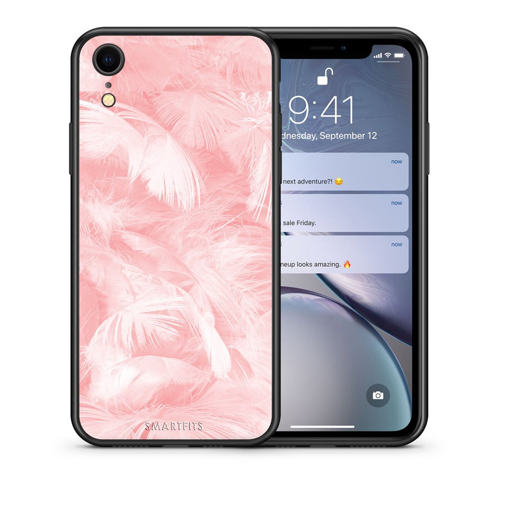 33 - iphone xr Pink Feather Boho case, cover, bumper