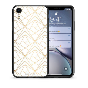 Θήκη iPhone XR Luxury White Geometric από τη Smartfits με σχέδιο στο πίσω μέρος και μαύρο περίβλημα | iPhone XR Luxury White Geometric case with colorful back and black bezels