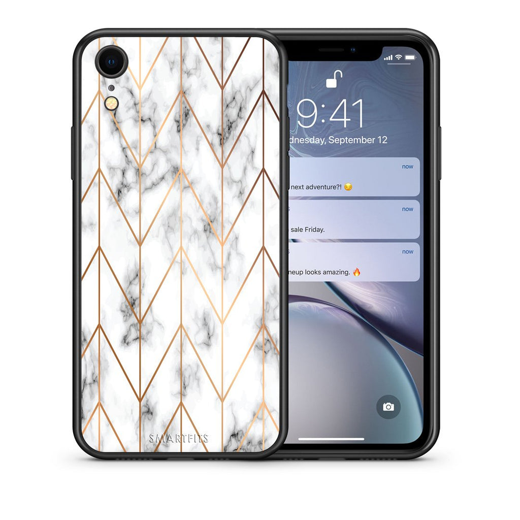 44 - iphone xr Gold Geometric Marble case, cover, bumper