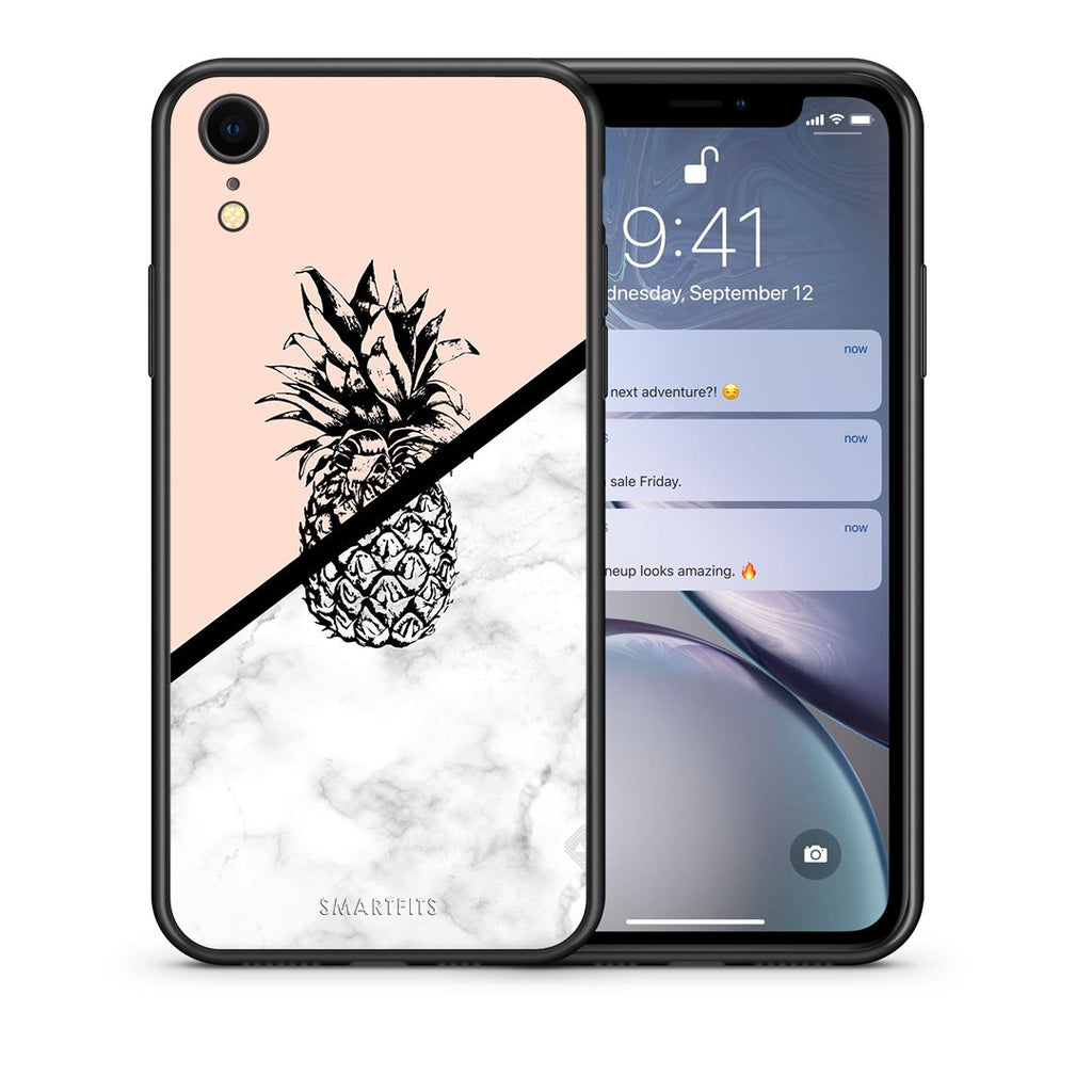4 - iphone xr Pineapple Marble case, cover, bumper
