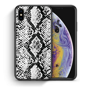 Θήκη iPhone X/Xs White Snake Animal από τη Smartfits με σχέδιο στο πίσω μέρος και μαύρο περίβλημα | iPhone X/Xs White Snake Animal case with colorful back and black bezels