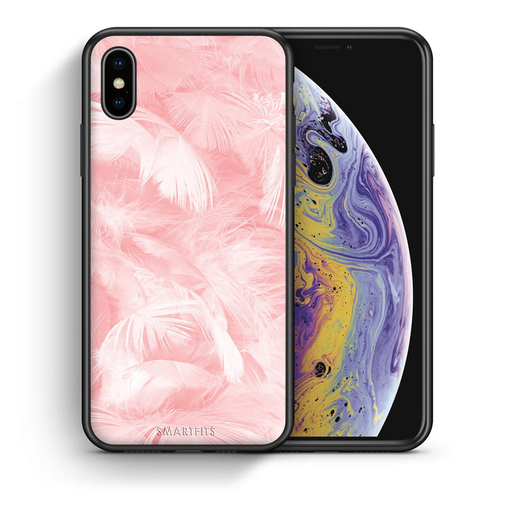Θήκη iPhone Xs Max Pink Feather Boho από τη Smartfits με σχέδιο στο πίσω μέρος και μαύρο περίβλημα | iPhone Xs Max Pink Feather Boho case with colorful back and black bezels
