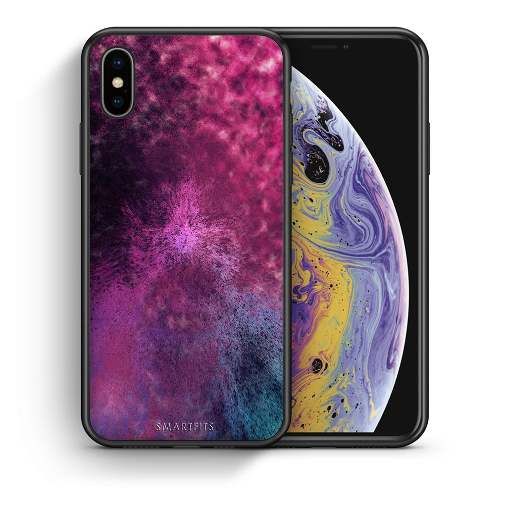 Θήκη iPhone Xs Max Aurora Galaxy από τη Smartfits με σχέδιο στο πίσω μέρος και μαύρο περίβλημα | iPhone Xs Max Aurora Galaxy case with colorful back and black bezels