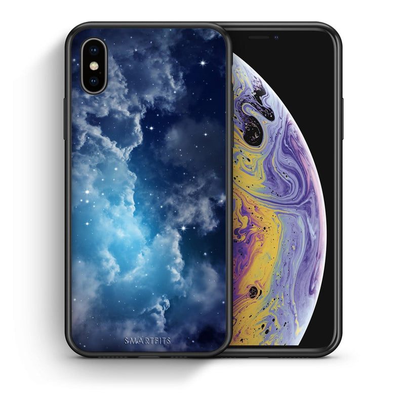 Θήκη iPhone Xs Max Blue Sky Galaxy από τη Smartfits με σχέδιο στο πίσω μέρος και μαύρο περίβλημα | iPhone Xs Max Blue Sky Galaxy case with colorful back and black bezels