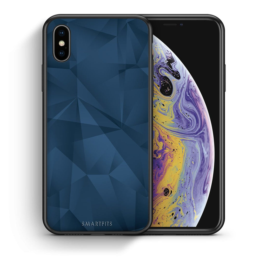 39 - iPhone X/Xs Blue Abstract Geometric case, cover, bumper