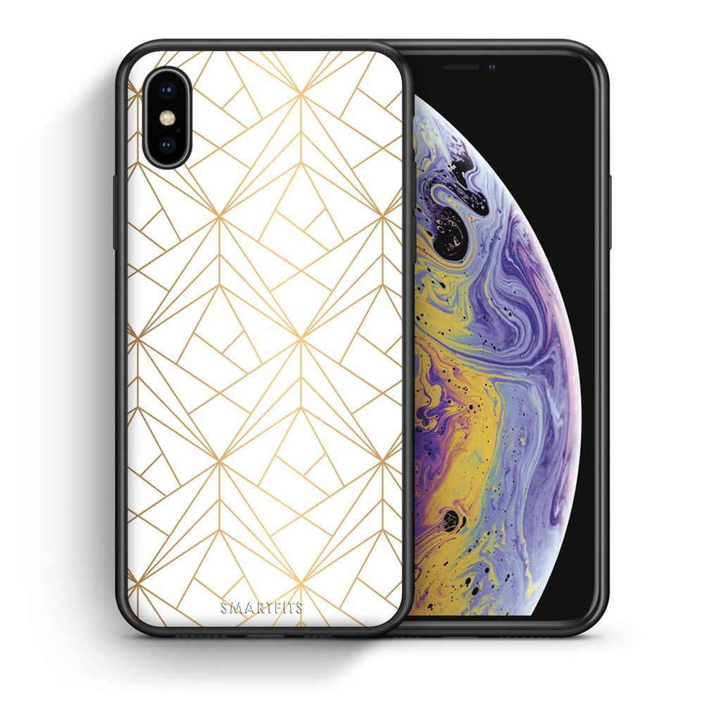 111 - iphone xs max Luxury White Geometric case, cover, bumper