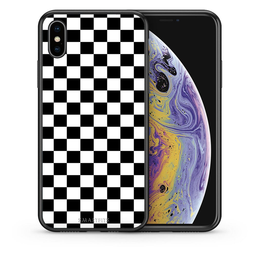 Θήκη iPhone Xs Max Squares Geometric από τη Smartfits με σχέδιο στο πίσω μέρος και μαύρο περίβλημα | iPhone Xs Max Squares Geometric case with colorful back and black bezels