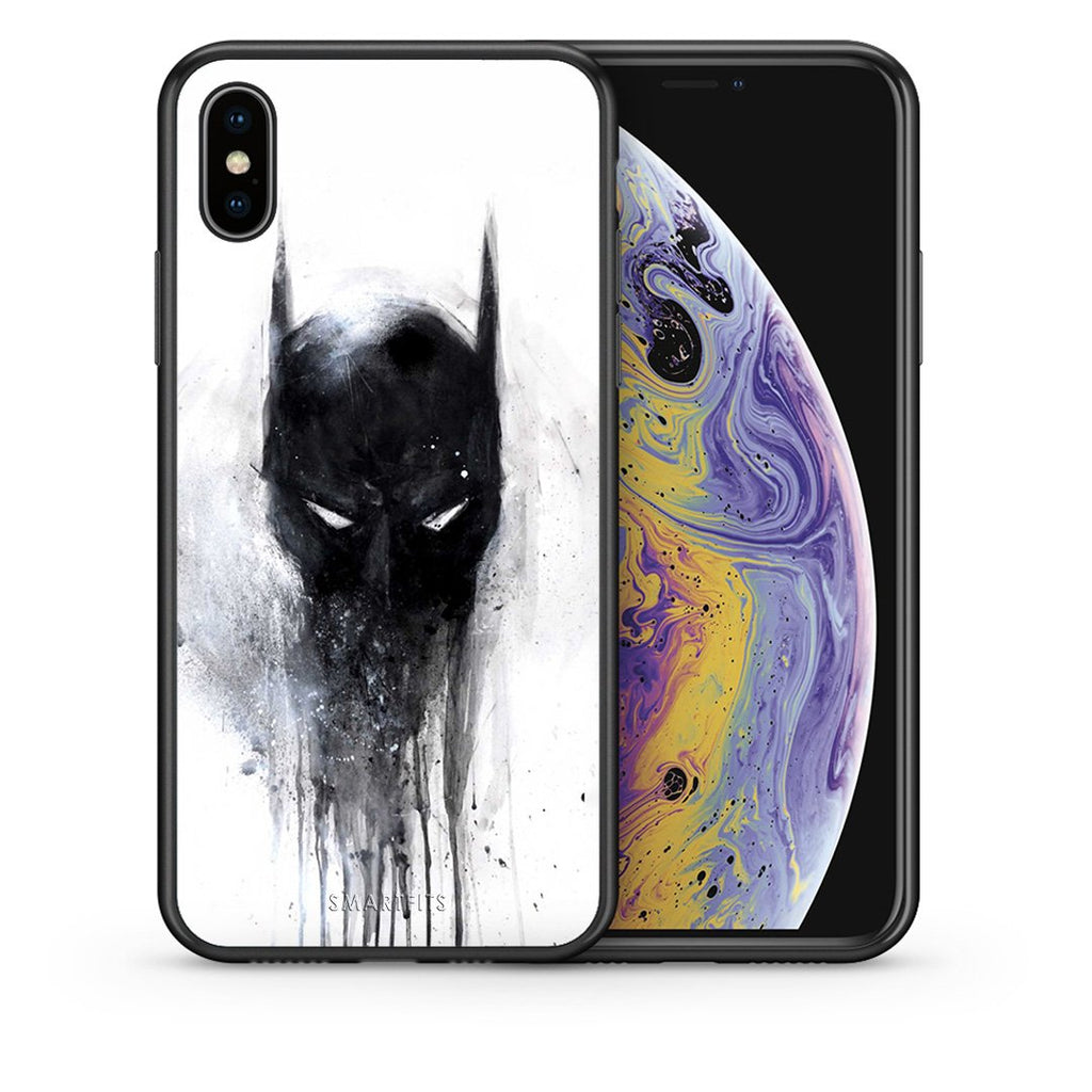 Θήκη iPhone Xs Max Paint Bat Hero από τη Smartfits με σχέδιο στο πίσω μέρος και μαύρο περίβλημα | iPhone Xs Max Paint Bat Hero case with colorful back and black bezels
