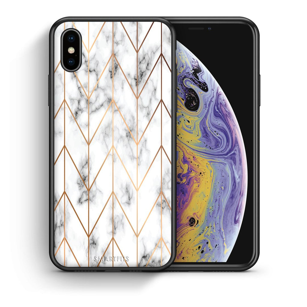 Θήκη iPhone Xs Max Gold Geometric Marble από τη Smartfits με σχέδιο στο πίσω μέρος και μαύρο περίβλημα | iPhone Xs Max Gold Geometric Marble case with colorful back and black bezels