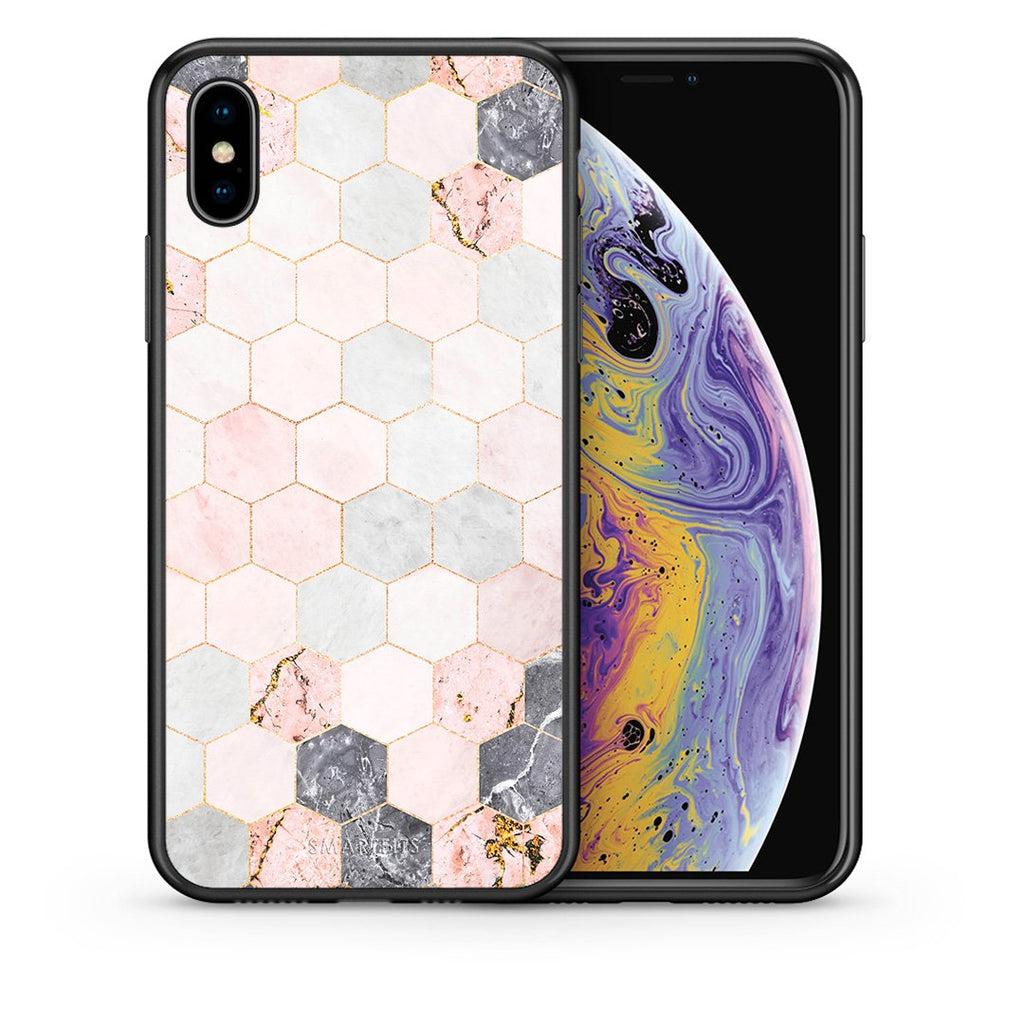 Θήκη iPhone Xs Max Hexagon Pink Marble από τη Smartfits με σχέδιο στο πίσω μέρος και μαύρο περίβλημα | iPhone Xs Max Hexagon Pink Marble case with colorful back and black bezels