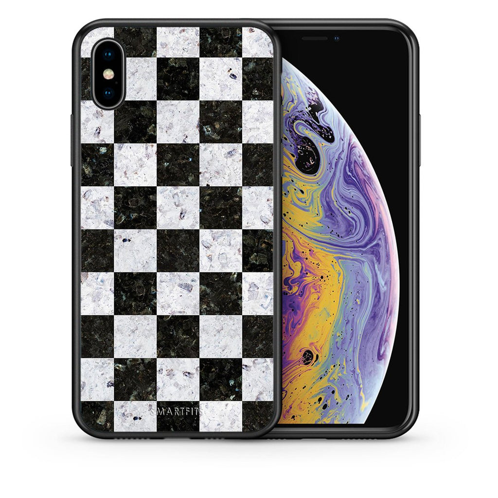 Θήκη iPhone Xs Max Square Geometric Marble από τη Smartfits με σχέδιο στο πίσω μέρος και μαύρο περίβλημα | iPhone Xs Max Square Geometric Marble case with colorful back and black bezels
