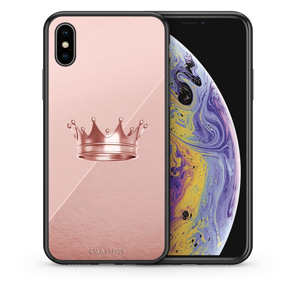 Θήκη iPhone Xs Max Crown Minimal από τη Smartfits με σχέδιο στο πίσω μέρος και μαύρο περίβλημα | iPhone Xs Max Crown Minimal case with colorful back and black bezels