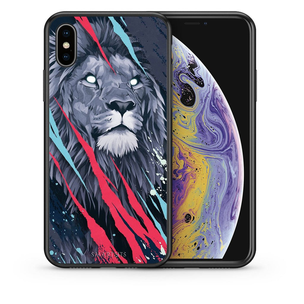 Θήκη iPhone Xs Max Lion Designer PopArt από τη Smartfits με σχέδιο στο πίσω μέρος και μαύρο περίβλημα | iPhone Xs Max Lion Designer PopArt case with colorful back and black bezels