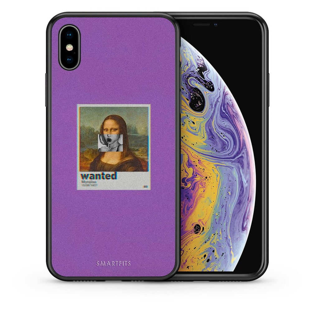 Θήκη iPhone Xs Max Monalisa Popart από τη Smartfits με σχέδιο στο πίσω μέρος και μαύρο περίβλημα | iPhone Xs Max Monalisa Popart case with colorful back and black bezels