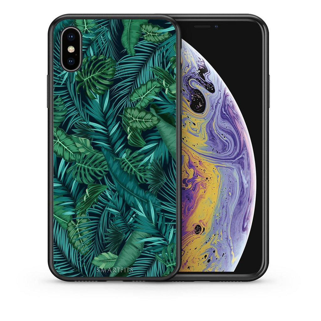 Θήκη iPhone Xs Max Leaves Tropic από τη Smartfits με σχέδιο στο πίσω μέρος και μαύρο περίβλημα | iPhone Xs Max Leaves Tropic case with colorful back and black bezels