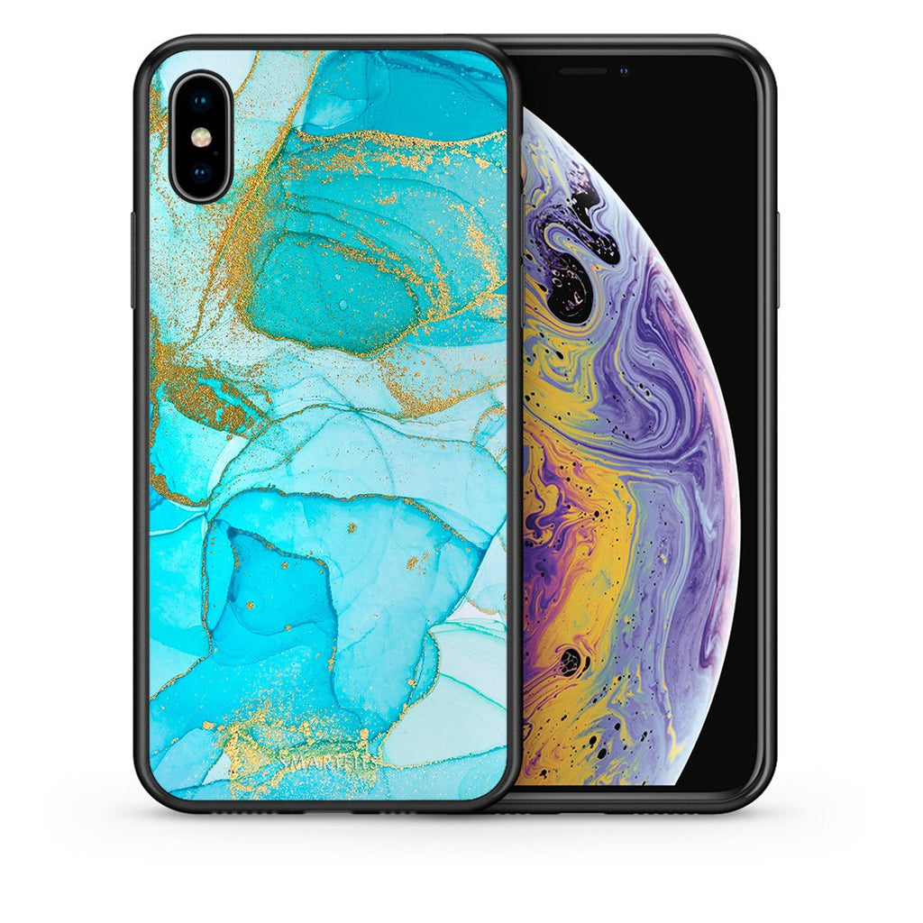 Θήκη iPhone Xs Max Turquoise Gold Watercolor από τη Smartfits με σχέδιο στο πίσω μέρος και μαύρο περίβλημα | iPhone Xs Max Turquoise Gold Watercolor case with colorful back and black bezels