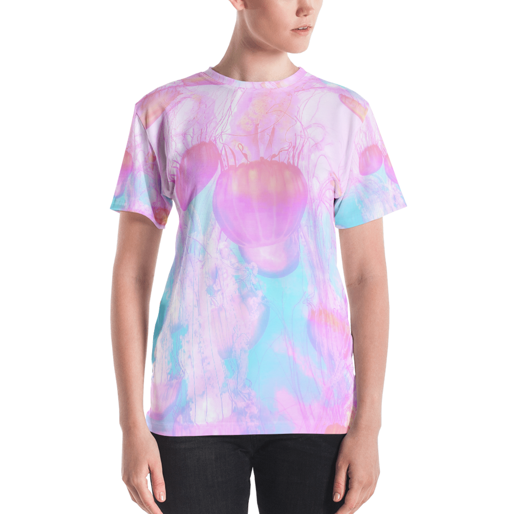 ETHEREAL ALL-OVER CUT & SEW T-SHIRT FOR WOMEN, , Death Designer