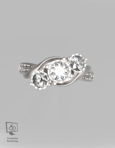 3 Stone Miracle Top Diamond Ring - 1 tcw