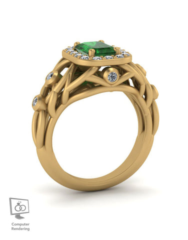 Branch Ring w/ Emerald Center in 14k Yellow