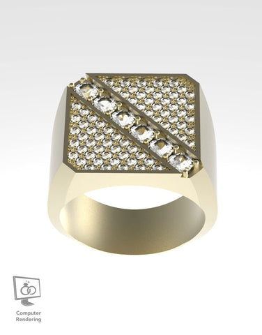 Square Top Angled Diamond Row - 14K Yellow Gold