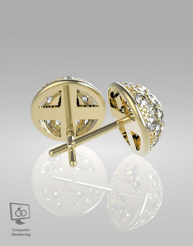 Domed Earrings 1 tcw of Diamonds in 14k
