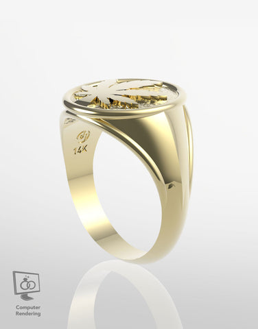 Cannabis Leaf Ring in 14k Yellow Gold