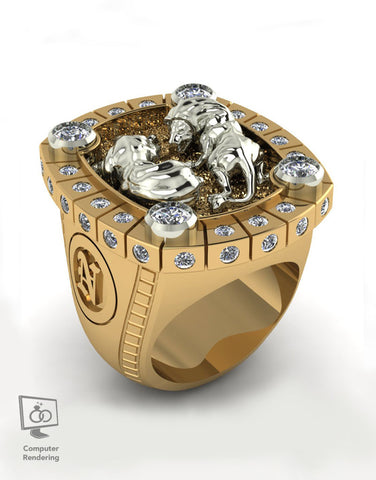 Fighting Lions Ring in 14k Gold