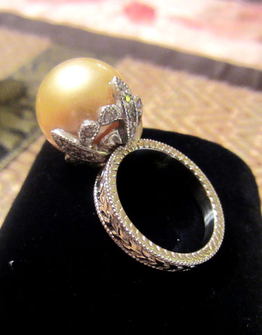 Floral Pearl Ring in 14k White Gold