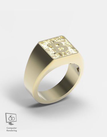 Bitcoin Ring in 14k Gold