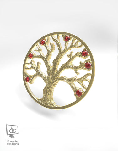 Family Tree Pendant w/ Ruby Stones