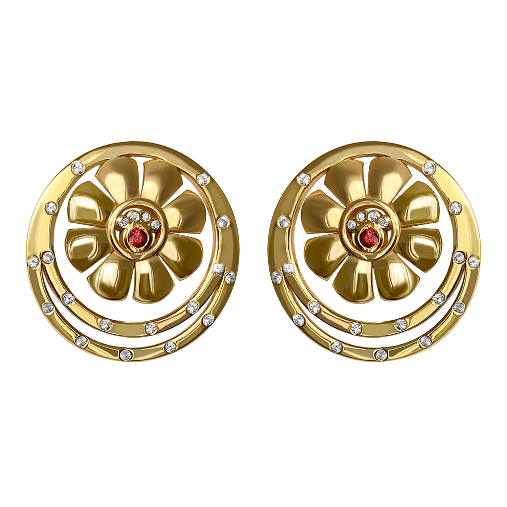 Cyclades Small Ariadne Stud Earrings with White Sapphires and Rubies