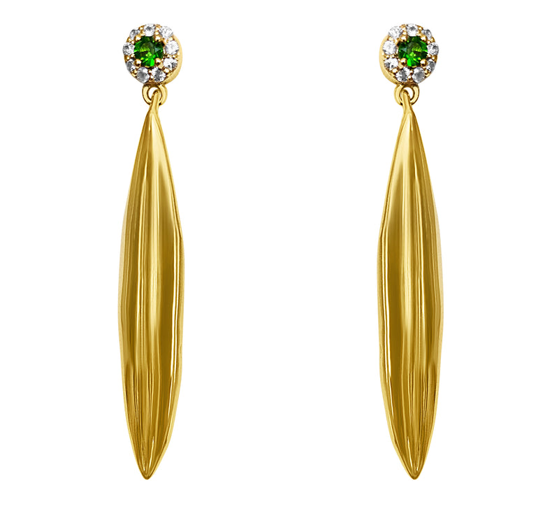 Olive Leaf Gold Earrings