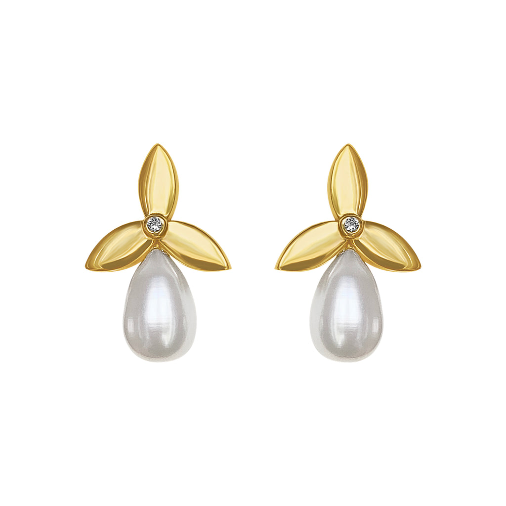 Flower Pearl Diamond Earrings Cyclades
