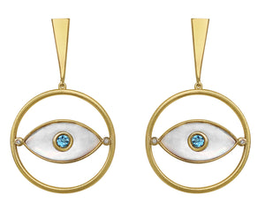 Blue Evil Eye Earrings Topaz