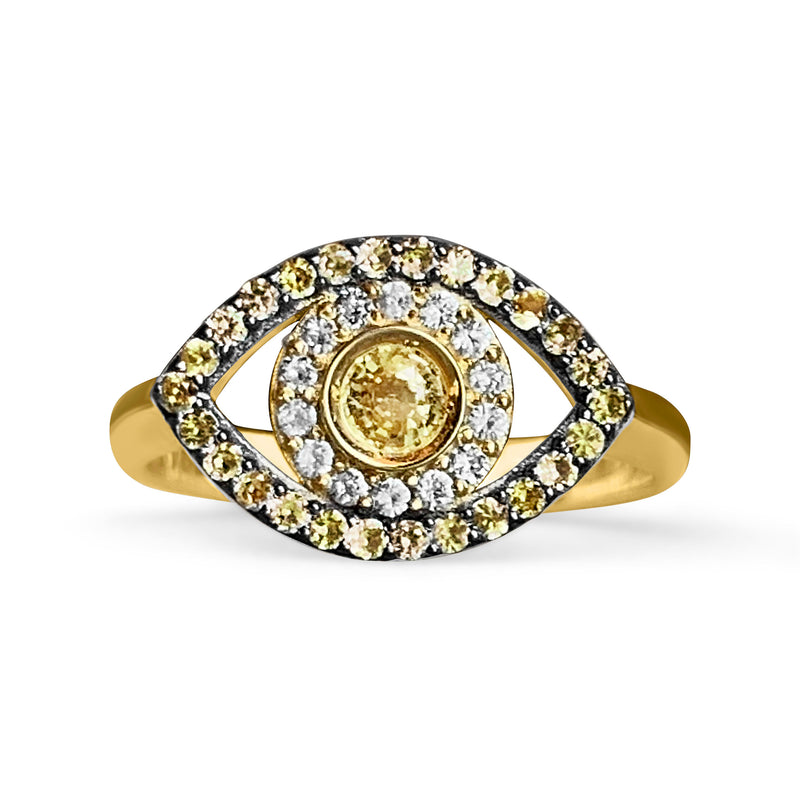 Gold Evil Eye Ring with Yellow Sapphires