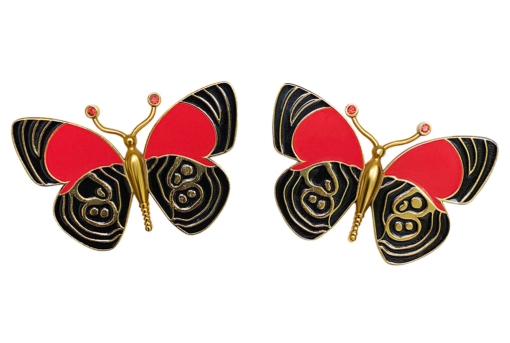 Gold Butterfly Earrings with Sapphires