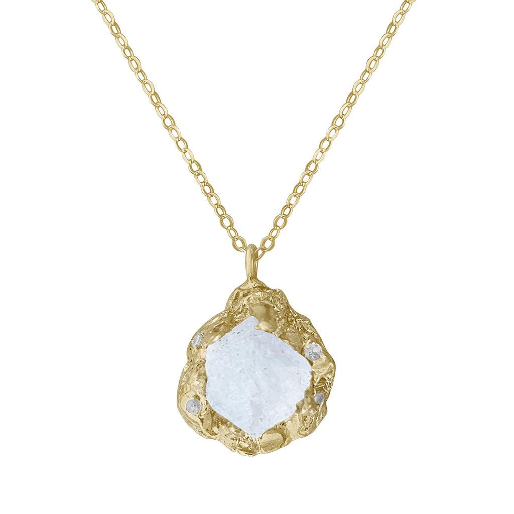 14K Gold Selene Rough Moonstone Necklace PREORDER