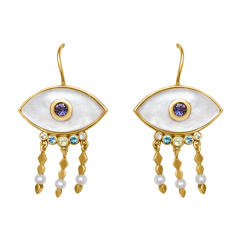 EVIL EYE pearl earrings