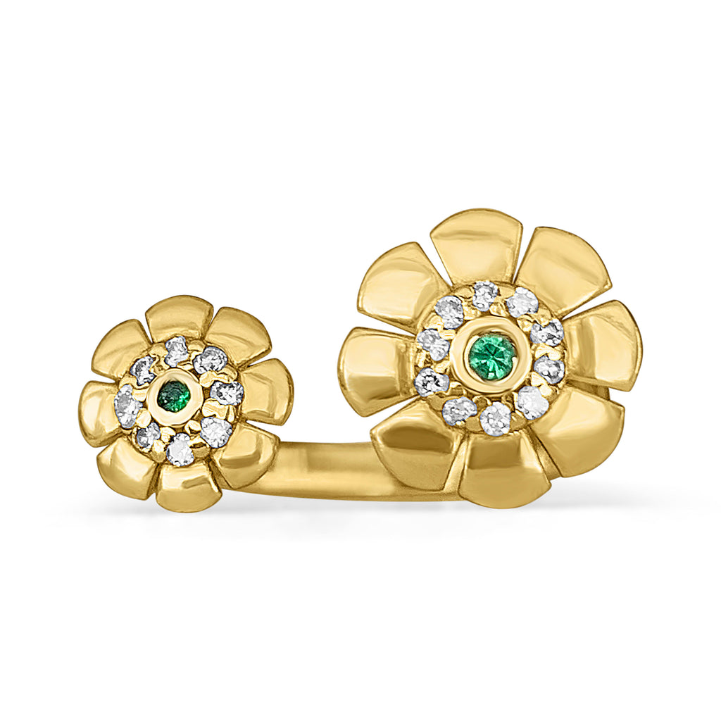 Double flower ring with diamonds