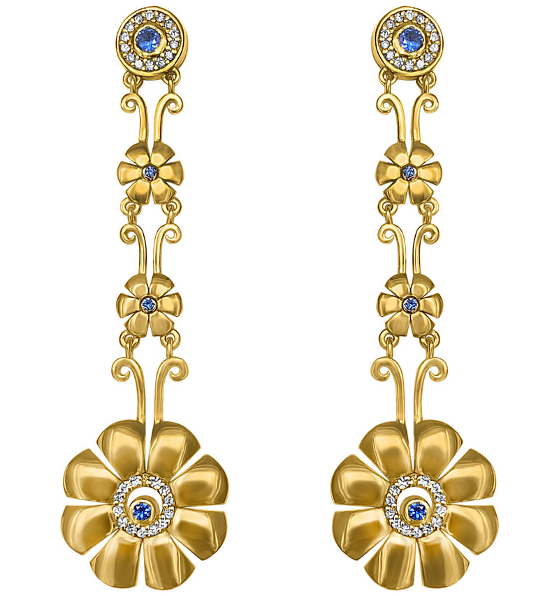 Knossos Long Gold Flower Earrings