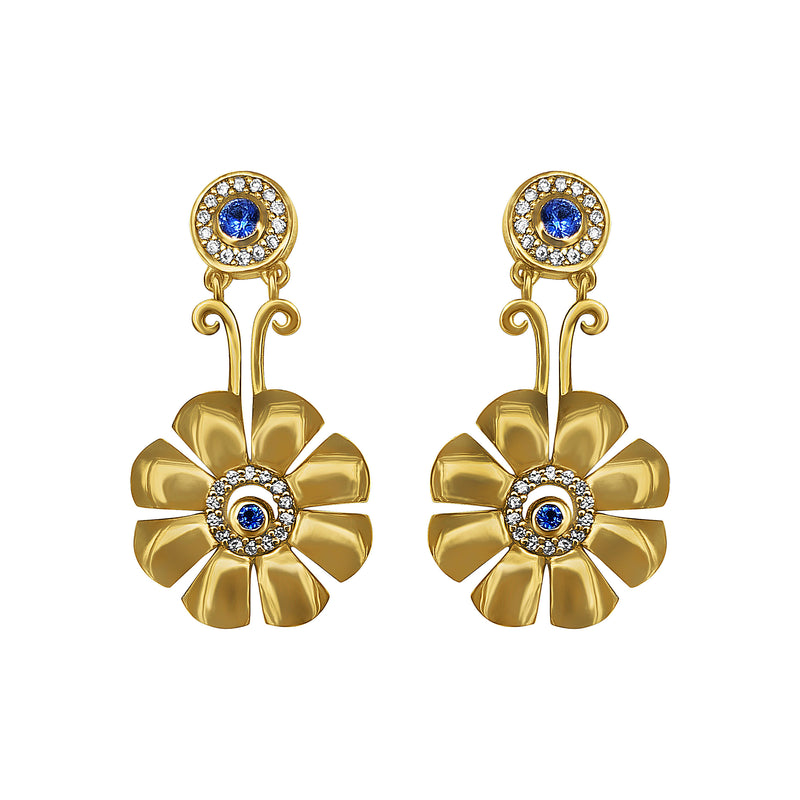 Cyclades Gold Knossos Flower Earrings with Diamonds and Blue Sapphires