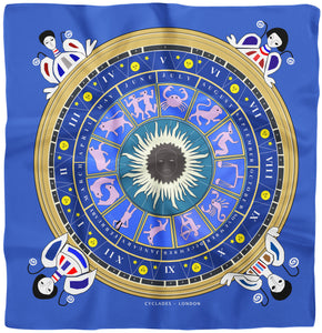 Cyclades silk scarves zodiac blue
