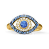 Gold Blue Eye Ring with Sapphires