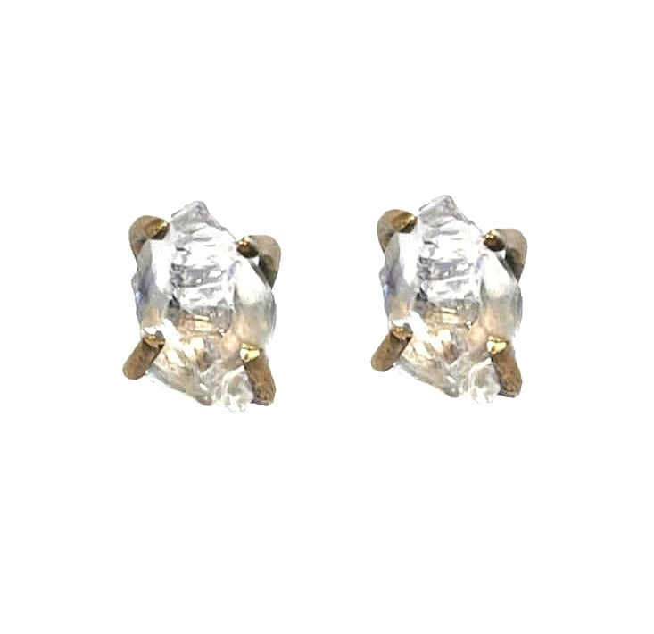 White Quartz Raw Rough Stud Earrings 24 K Gold Plating over Silver