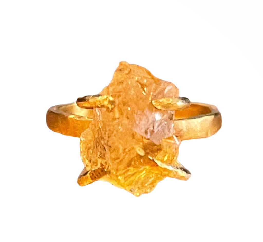 Citrine Raw Rough Ring 24 K Gold Plating over Silver